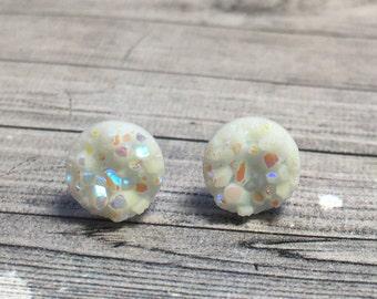 Tiny White Druzy Earrings, 8mm Round Faux Druzy Earrings, Metallic Glitter Faux Drusy Posts, Glittering White Rainbow Stainless Steel Studs