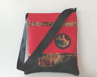Tote :  Red Fabric and Leather
