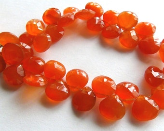 Carnelian faceted heart briolette