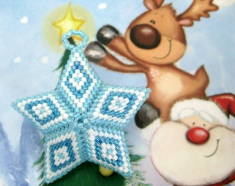 Peyote Star / Christmas Star / Beaded Ornament  / Seed Bead Star in Blue and White / 3d Peyote Star / Beadwork Star / Christmas Ornament