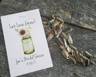 Rustic Chalkboard Green Mason Jar Let Love Grow Flower Seed Packet Favor Shabby Chic Cute Favors for Country Bridal Shower Wedding Birthday