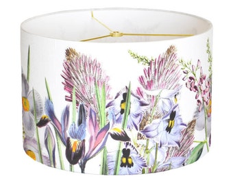 LARGE Linen Violet Garden Party Lamp Shade - Orchid Pink Lavender Flower Lampshade - 13 14 15 Inch Drum Lamp Shade - Custom Made to Order