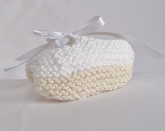 Handknitted Cotton Booties for Newborns - Tan and White