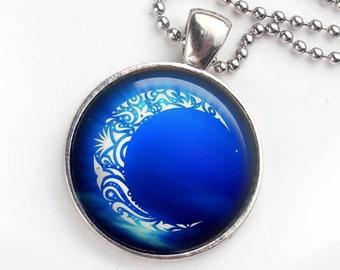 Crescent Moon Pendant, Blue Crescent Moon Necklace, Celestial Pendant, Blue Moon, Crescent Moon Necklace, Photo Pendant, New Age Gift