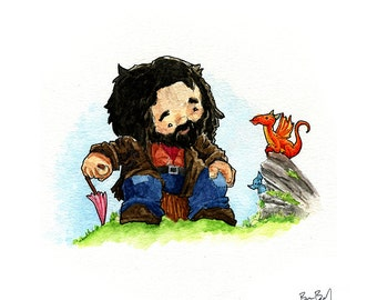 Hagrid and his new dragon watercolor print
