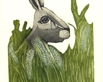 le lièvre de wall art, lièvre impression, art du paysage, art de la nature, animal print, vert herbe sauvage, assis lièvre impression, gravure, gravure, lapin