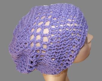 Hat Woman, Slouchy Hat, Purple Hat, Summer Cloche, Cotton Summer Hat, Cotton Slouch Hat, Crochet Cotton Hat, Purple Tam, Purple Slouch Hat
