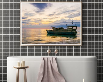 Boats, Old Boats, Sunset Prints, Jamaica Prints, Jamaica, Ocean Sunset, Ocean Prints, Fine Art Prints, Home Decor, Office Decor, Prints