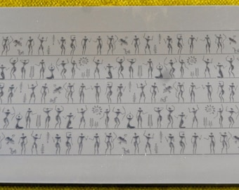 Rollable ANCIENT PEOPLE Fineline Clay Texture Rubber Stamp   RTT-102