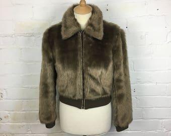 1970's Dannimac Beige Brown Faux Fur, Short Bomber Jacket. UK Size 8/10. Faux Fur Jacket. 1970's Jacket.