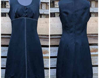 Vintage 1960s or 70s EDWARDS sleeveless black with white stitching knee length sheath wiggle 100% Polyester fortrel dress
