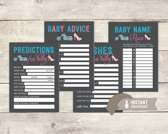 "Wheels or Heels? Gender Reveal Party Game Set - 4 Instant Download Games - 8.5"" x 11"" PDF with 2 (5"" x 7"") cards to a page"