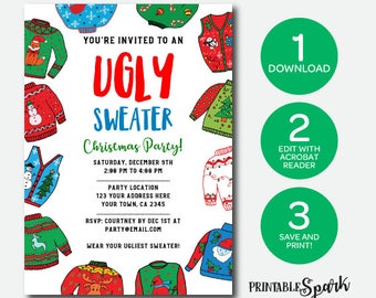 Ugly Sweater Party Invitation, Instant Download Invitation, Holiday Party, Edit Yourself!