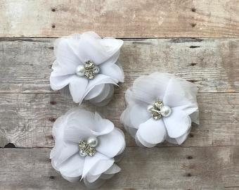 "2"" Chiffon Flower, White rhinestone and pearl flower, DIY Hair Accessories, Craft Supplies, Wholesale flowers, Baby headband supply"