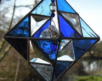 Blues and clear geometric beveled glass sun catcher stained glass