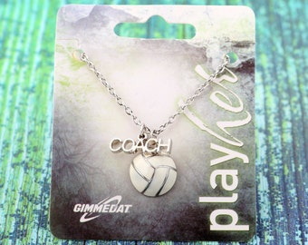 Customized Enamel Volleyball Coach Necklace - Personalize with Number Charm, Heart Charm, or Letter Charm! Great Volleyball Gift!