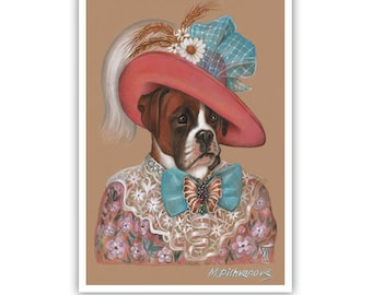 Boxer Art Print - Lady Augustina - Dog Wall Art - Dogs in Hats - Pink Flower Print - Dog Portraits by Maria Pishvanova