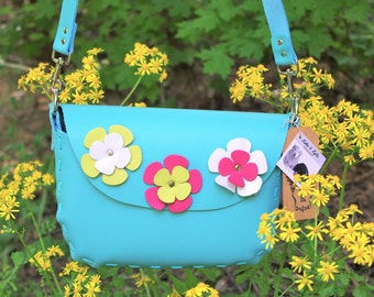 BELLA Handmade, Flower Power Leather Crossbody Handbag in Light Turquoise - Custom  Boho Festival Cowgirl Rodeo Gypsy Country Western US