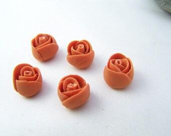 5 mini cold porcelain flowers