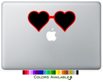 Heart-Shaped Sunglasses Laptop Decal