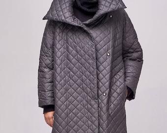 Winter coat / Oversize coat / Grey oversize coat / Woman coat /  Grey coat woman / Quilted coat woman / Long jackets woman / Handmade