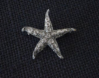 Vintage Sterling Silver and Marcasite Brooch - Vintage Marcasite Brooch - Vintage Sterling Silver Starfish Brooch - Vintage Silver Starfish