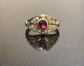 14K Yellow Gold Art Deco Diamond Ruby Engagement Ring - 14K Gold Art Deco Ruby Diamond Wedding Ring - 14K Gold Ruby Ring - Ruby Diamond Ring