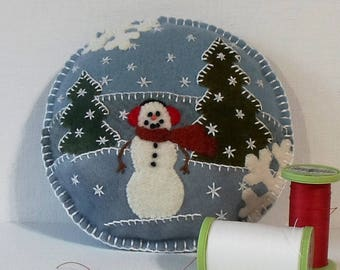 Handmade Snowman Felted Wool Embroidered Pincushion
