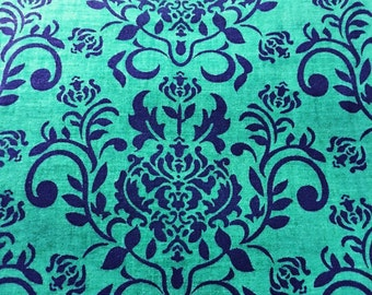 Green and Navy Damask Fabric Cotton Quilting