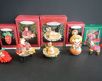 Vintage Hallmark Christmas Ornaments - Hispanic,CHOICE of 1, in box - 1980s-1990s - holiday, tree, pinata, mouse, sombrero, chili pepper