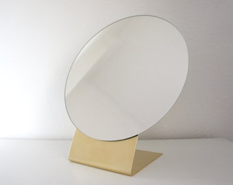 """Brass Table Mirror Large - 12"""""""