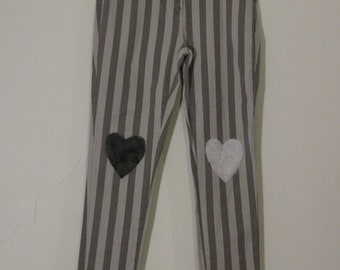 Marcy- uk 14 Grey white heart Stripe Jeans faux fur cute kawaii denim contrast stripe stripey striped 80s festival club hot furry 90s y2k