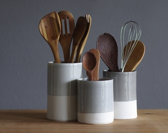One porcelain utensil holder in your choice of glaze color. Modern kitchen utensil holder handmade by vitrifiedstudio.