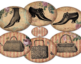 Printable Gift Tags Vintage Shoes Antique Purses Instant Download Scrapbook Images Decoupage Paper Collage Sheet Victorian Fashion Sepia