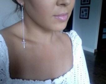 Skinny Cross Earrings - Skinny Cross Dusters - Long cross earrings