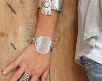 Adjustable Multi Line-chain bracelet Antique Silver Floweral etched statement bracelet Free people style boho chic original design by Inali