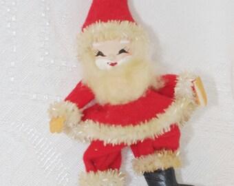 Vintage Santa Decoration: Felt Spun Cotton 1950s