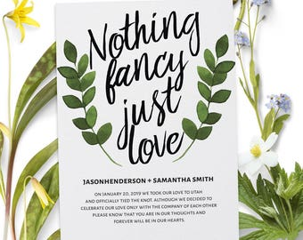Nothing Fancy Just Love Elopement Announcement Cards, Wedding Elopement Card, Announcement Cards 70