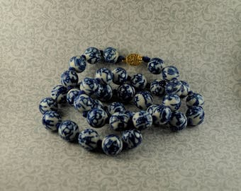Chinese Blue and White Beaded Necklace