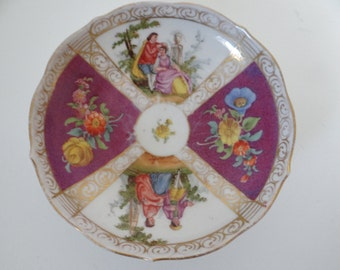 1815 Rare Hand Painted Meissen Crossed Swords Quatrefoil Courting Couple Small Porcelain Bowl