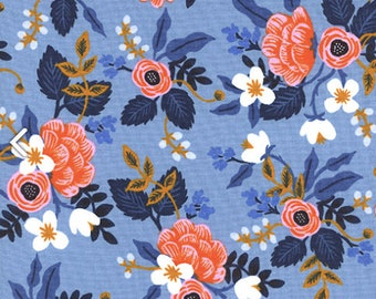 COTTON Birch Periwinkle by Rifle Paper Co, Les Fleurs Collection, Cotton and Steel, 100% Cotton Fabric, Quilting Cotton, Blue Floral 8003-01
