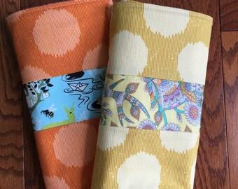 Burp Cloth, Baby Gift, Ready to Ship, Unisex Modern Baby Print, Eco Friendly Baby, Burpie - Baby Shower Gift, Yellow or Orange