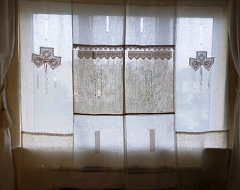 BOHO chic decor style, LARGE size linen and lace curtain exclusive design by linen artisan, Shabby chic net curtain