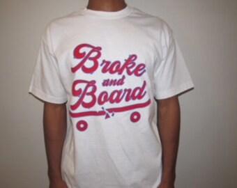BrokeandBoard Logo Tee White/ Red