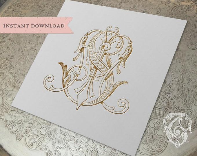 Vintage Wedding Monogram MS SM Digital Download M S