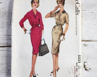 1950s dress pattern / McCall's 5233 / 1950s shirtwaist dress / 1950s day dress / bust 32""