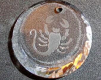 RARE 18mm Vintage Swarovski Crystal SCORPIO Zodiac Sign Etched Pendant Charm Suncatcher
