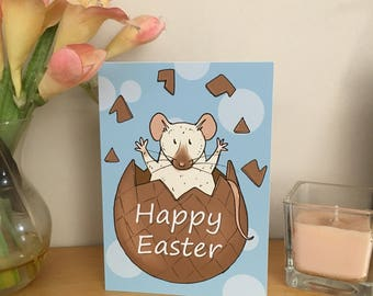 Happy Easter Rat Card, Chocolate Egg, Animal Illustration, A6 Size, Blank Inside with white envelope, rat lover pet, cute easter card