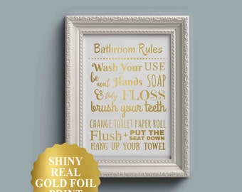 Bathroom Rules Sign, Kids Bathroom Art, Kids Bathroom Wall Decor, Gold Foil Bathroom Sign, Bathroom Wall Art, gold foil print, gold foil art