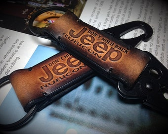 Jeep leather keychain. Personalized Custom leather car keychain with your name and Jeep Logo. Brown.